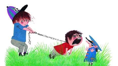 © Illustratie Fiep Westendorp. Pluk heeft Spijtebijt strak aan de lijn.  Luis Suárez doet mij denken aan het jongetje Spijtebijt, in 'Pluk redt de dieren' van Annie M.G. Schmidt.