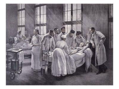 Le vaccin du croup à l'hôpital Trousseau (1895) par Emile Roux, disciple de Pasteur. Pierre-André Brouillet.