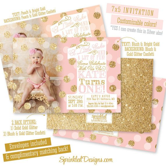 First Birthday Girl Invitation Photo Card - Blush Pink Gold Glitter Confetti Peach Mint Aqua - BIG ONE 1st Bday - Printed Party Invites