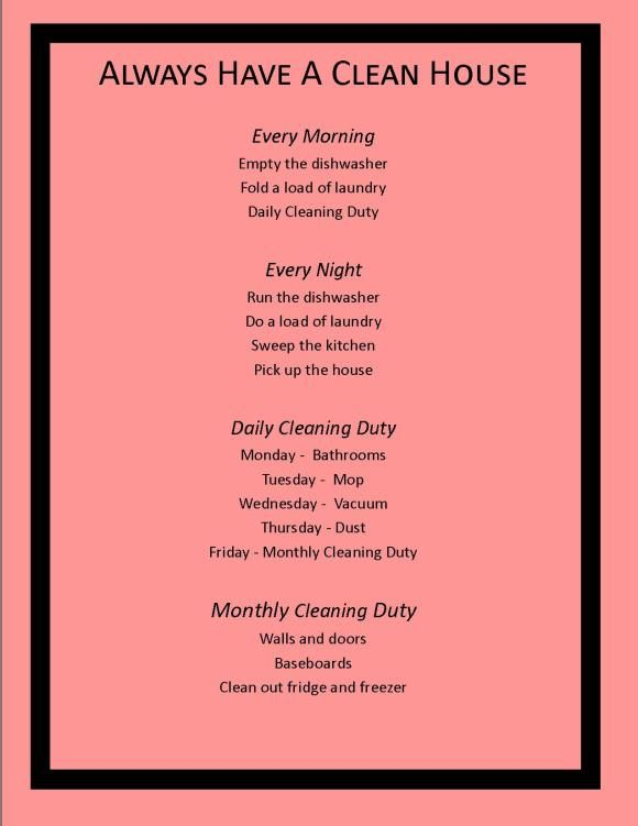 Always Have A Clean House Using This SMART Cleaning Schedule  {via Diary Of A Moody Housewife}