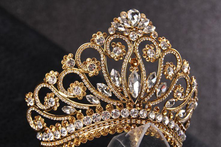 princess tiara crown  tiaras for wedding  crystal gold by Lesense, $250.00