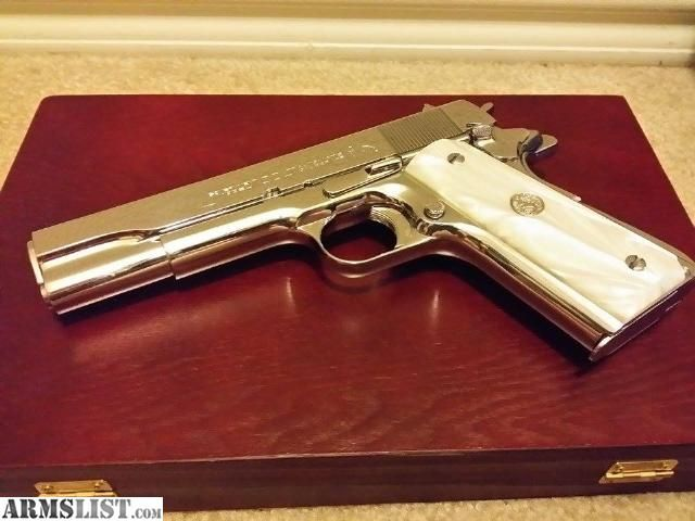 ARMSLIST - For Sale: 1950 Colt 1911 - Nickel with Mother of Pearl grips