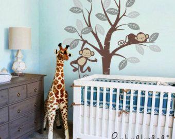 Etiquetas de la pared para niños, monos y árbol - guardería niños extraíble pared calcomanía de vinilo