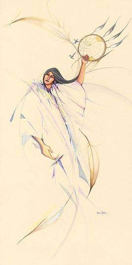 """""""Catch the Dream"""" - watercolor, in Dana Tiger (Cherokee/Creek) Limited Editions"""