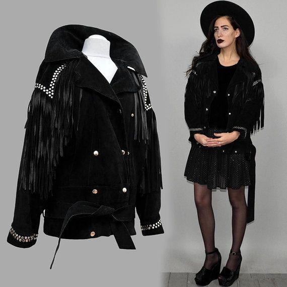 NAVAJO Vintage Metal cuero tachonado franja chaqueta Poncho