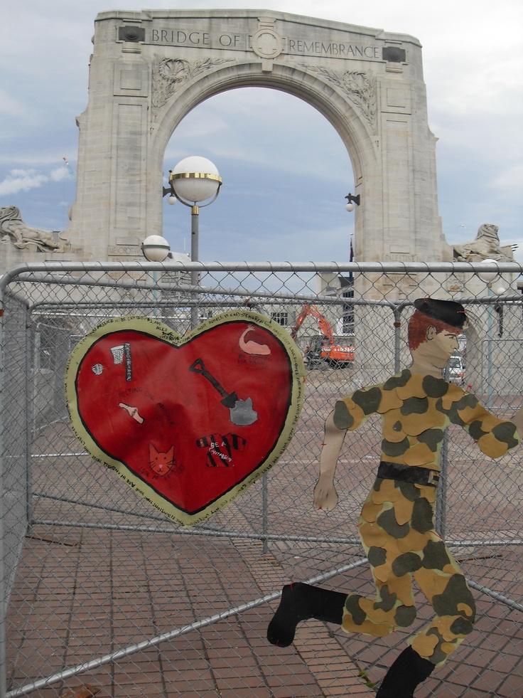 Barrier art, Bridge of Remembrance, Christchurch, NZ #rebuild #christchurch #streetart