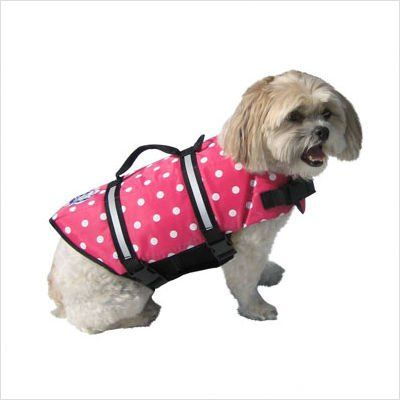 Designer Doggy Life Jacket Extra Extra Small Pink Polka Dot Up to 6 lbs - http://www.thepuppy.org/designer-doggy-life-jacket-extra-extra-small-pink-polka-dot-up-to-6-lbs/