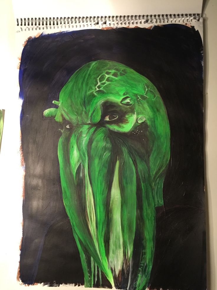 My new green monster in acryllic paint