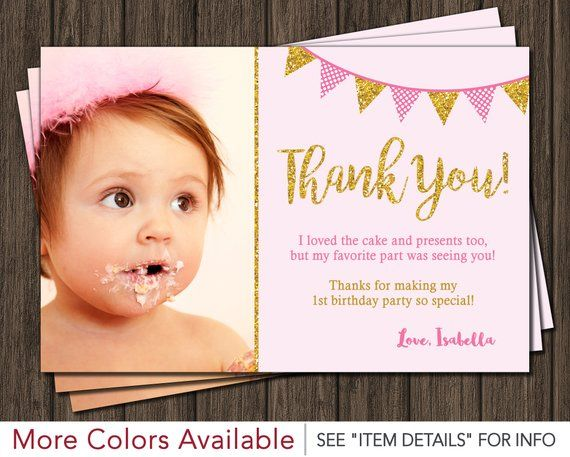 Pink And Gold Thank You Card First Birthday Thank You Cards Birthday Thank You Cards Birthday Thank You Thank You Cards