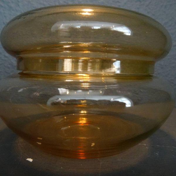 Geel/oranje antiek glazen deksel-bakje