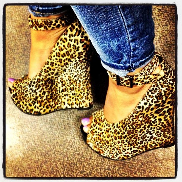 Leopard print wedged heels <3<3