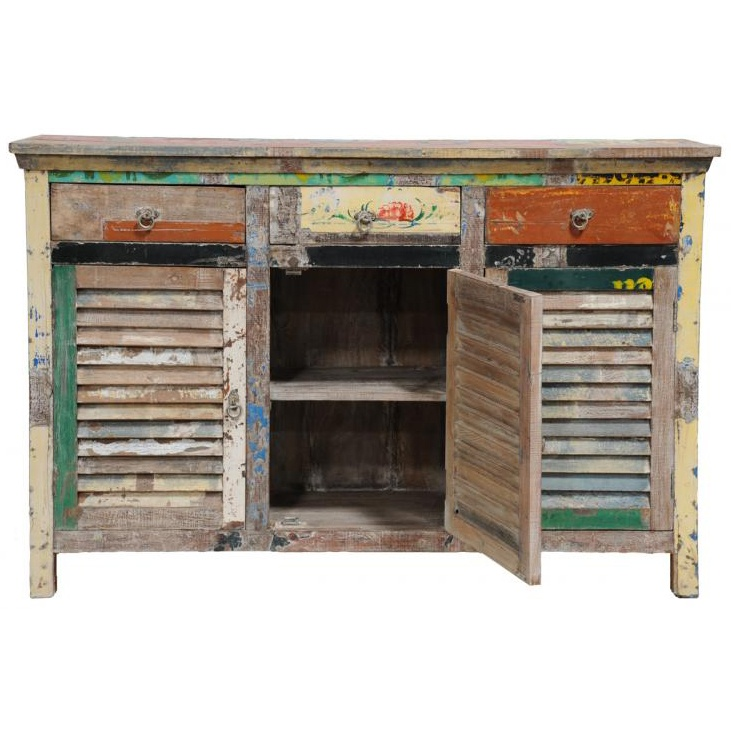 Distressed Wood Furniture | Distressed Wood Multi Colored Shutter Cabinet