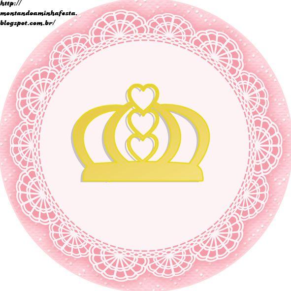 Montando minha festa: Kit digital gratuito para imprimir Princess - Coroa de Princesa Rosa! Mais