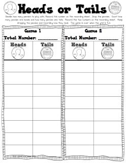 Freebielicious: Meet Ms. White from First Grade Blue SKies and get a Heads or Tails math freebie using pennies