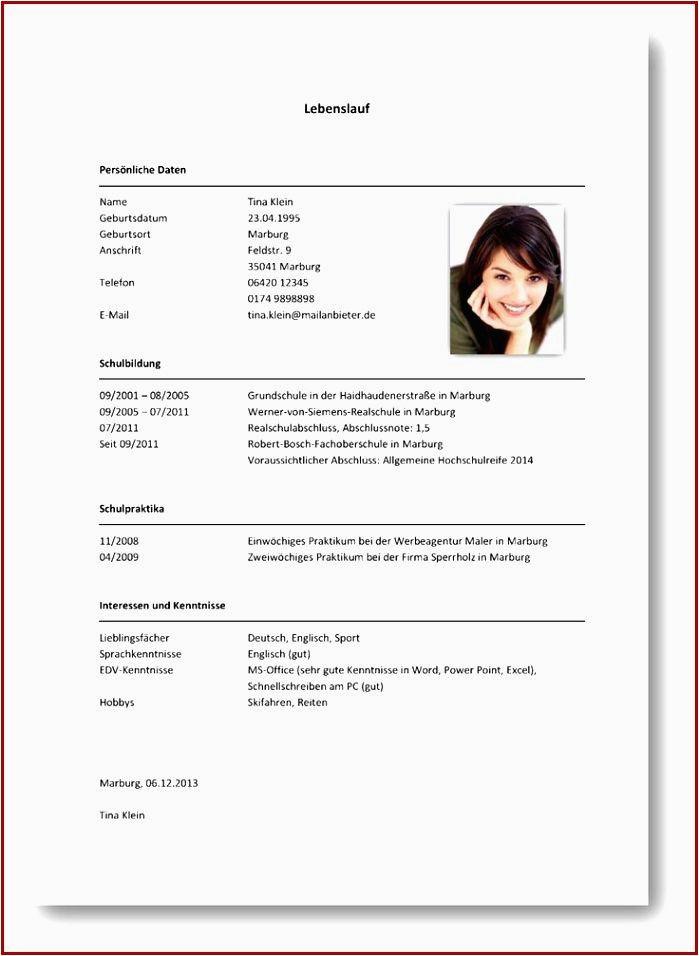 Muster Lebenslauf Fur Schuler Vorlage Im Online Editor