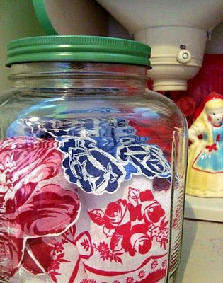 Proving inspiration is everywhere, Karen got the idea for this hankie jar from an eBay seller who told the story of her grandmother who kept a jar of hankies by her front door so visitors could choose one as a gift when they left. Karen's hankies are from her Granny too but they're staying put for now. Need hankies http://www.nanaluluslinensandhandkerchiefs.com/