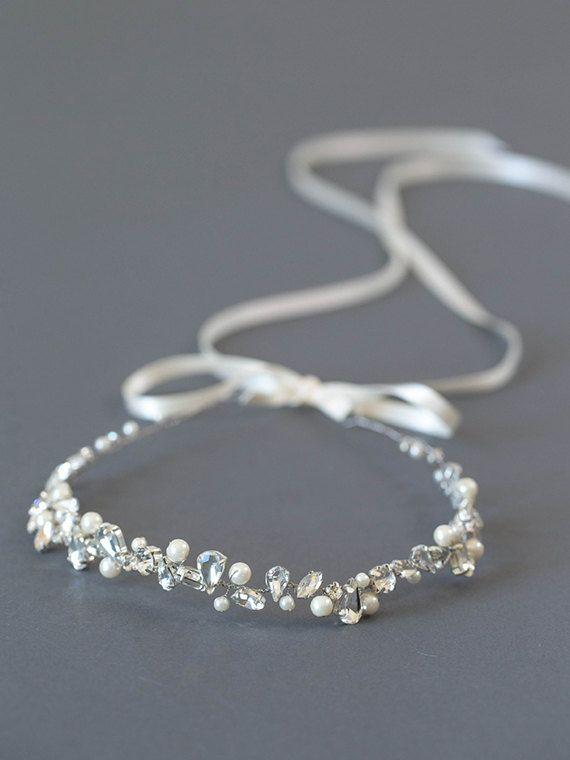 Silber Strass Braut Stirnband  Perle Hochzeit von DavieandChiyo