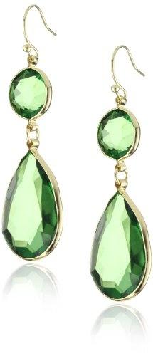 flying lizard designs faceted green resin stone earrings.