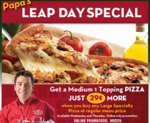 UPDATE – Be sure to log into your account and add the promo code FIRST before ordering your pizzas (Thanks, Elly!) Here's another great restaurant deal you may want to take advantage of if you're looking to take the night off from cooking.   Today 2/29 and tomorrow 3/1 only, you can snag a Medium [...]