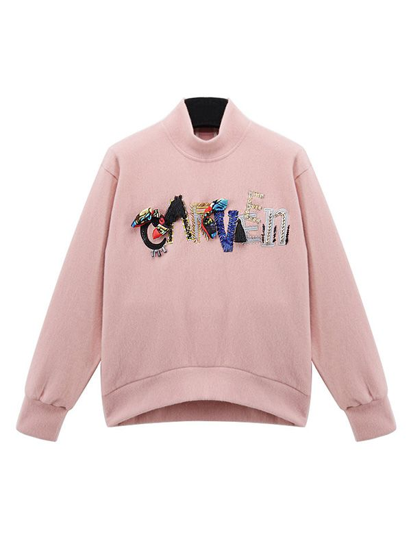 Fitting Floral Printed Blending Halter Middle-Collar Long Sleeve Embroidery Loosing Fleece
