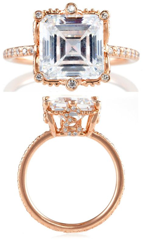"""The Erica Courtney """"Ellen"""" ring in rose gold and diamonds.  Via Diamonds in the Library."""
