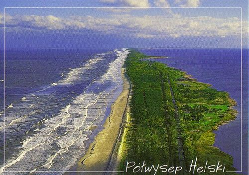 Hel Peninsula. From the  left side Baltic Sea, from the right side Gdańska Bay