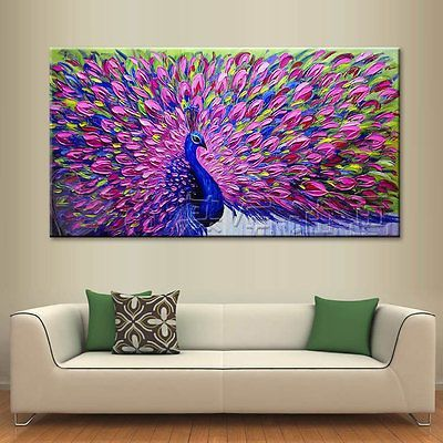 Modern Abstract Large Wall Decor Oil Painting On Art Canvas,Peacock(No Frame)