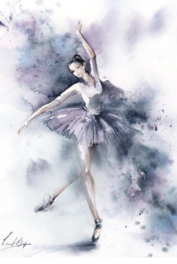 Aquarelle Originale Ballerine Ballerine En Violet Art Image 2