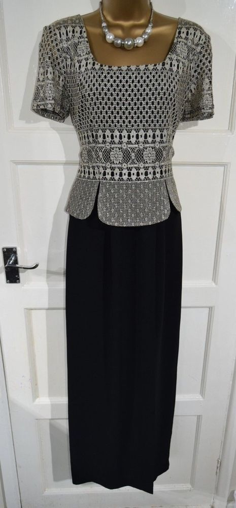 5cb0bd780195 JOSEPH RIBKOFF size 10 long maxi evening party occasion dress black gold  overlay #fashion #clothing #shoes #accessories #womensclothing #dresses  (ebay link)