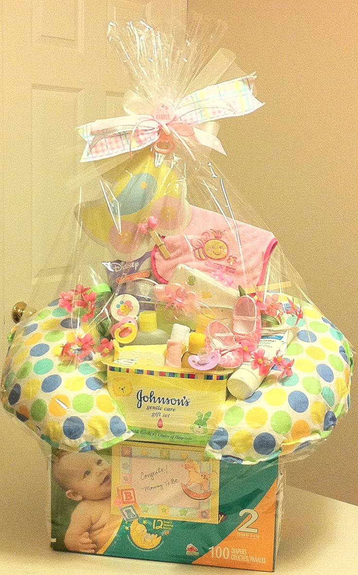 Baby Girl Unique Gift Basket - good idea to use the empty diaper box for this after making a diaper cake.