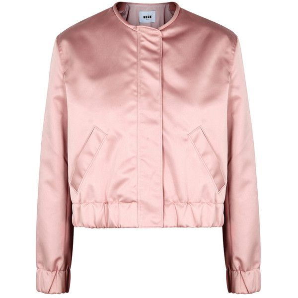 MSGM Light Pink Cropped Satin Bomber ($550) ❤ liked on Polyvore featuring outerwear, jackets, pink satin jacket, light pink bomber jacket, msgm jacket, pink cropped jacket and satin jackets