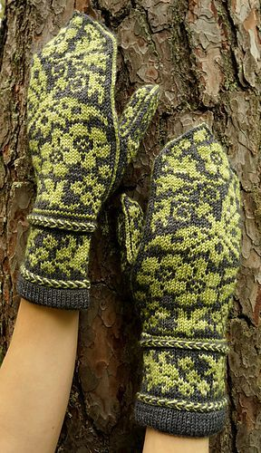 Garden Dreams Mittens pattern is designed for us short-fingered ones who prefer their mittens snug. Larger dimensions can be achieved by loosening the gauge.