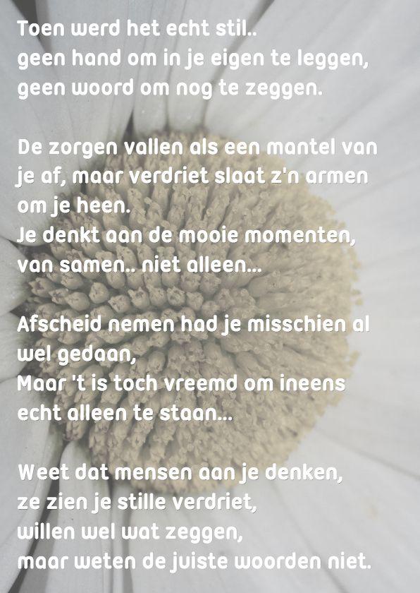 Fotokaart met afbeelding van een margriet in rustige kleuren met een mooi sprekend gedicht, passend bij het verliezen van iemand na ziekte of dementie
