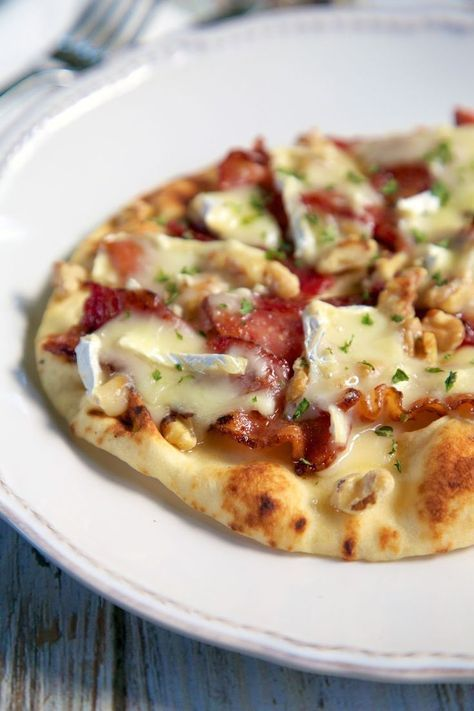 Honey Bacon Brie and Walnut flatbread - the flavor combination is out of this world!