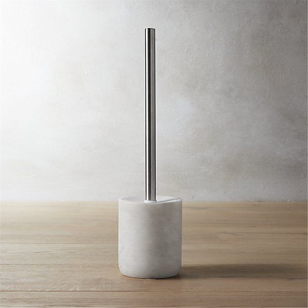 Shop marble toilet brush. Carve out a neat spot in the bath. Honed smooth in soft white with naturally occurring swirls of grey.