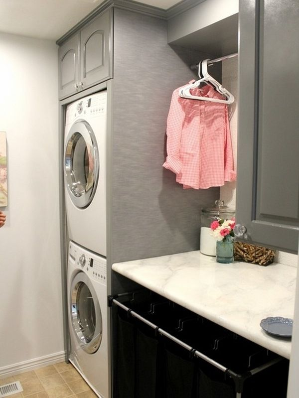 Utility Room Design Ideas 60 amazingly inspiring small laundry room design ideas Small Laundry Room Design Ideas Black Gray Laundry Room Cabinets Stacked Washer And Dryer