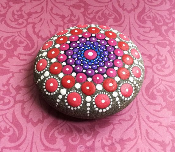 Jewel Drop Mandala Painted Stone heart centre by ElspethMcLean