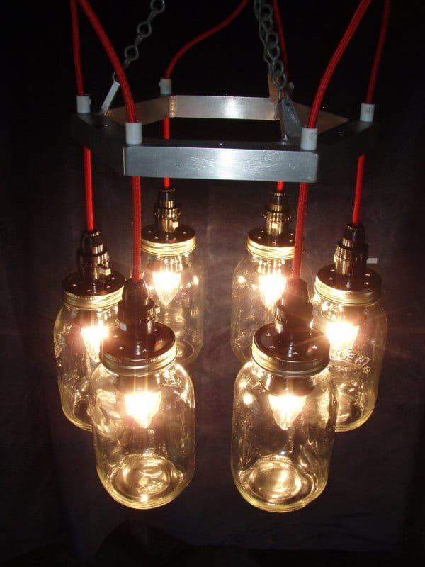 Red & Metal Mason баночка Люстра Подвесные лампы
