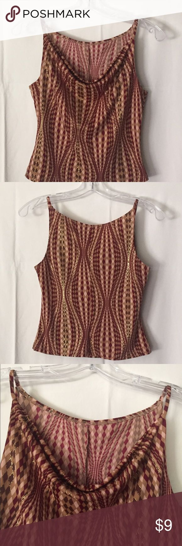"Spaghetti strap tank with a drape neck. Spaghetti strap tank with a drape neck. Never worn. All tags missing, so, I have no brand, size or material content. Assuming it's a medium (16"" from seam to seam & 16"" long). Tan, Brown and burgundy with gold-tone detail. Excellent condition. Tops Camisoles"