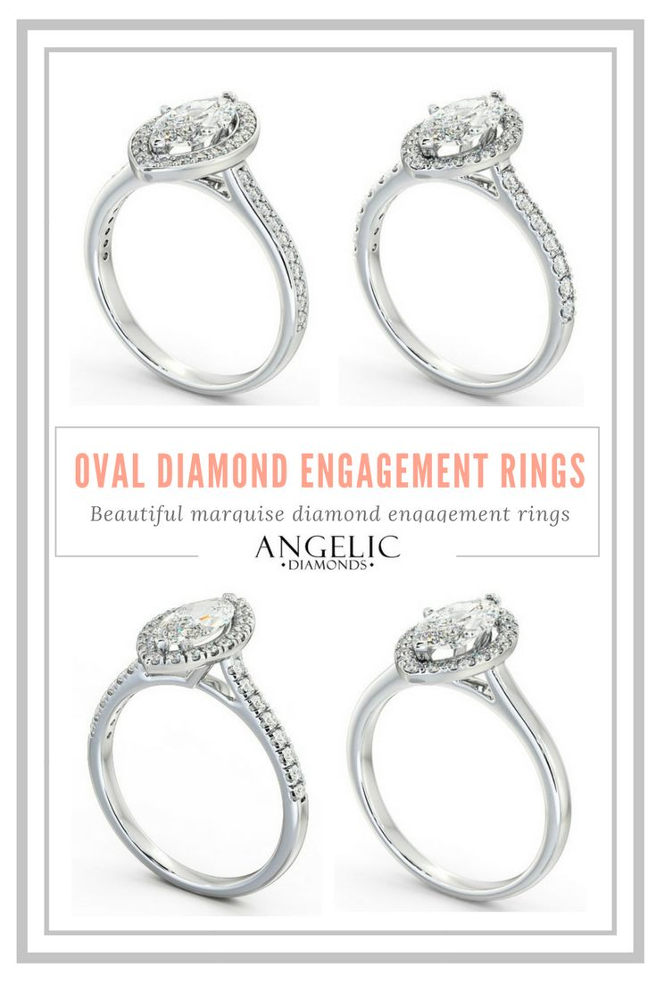 These oval diamond engagement rings combine modern design and classic style. White gold bands featuring stunning marquise diamonds, these diamond engagement rings from #AngelicDiamonds are simply stunning. #Engaged #Engagement #EngagementRing #EngagementRings #Diamond #Diamonds #DiamondRing #DiamondRings #Wedding #Ring #Rings #Jewellery #Jewelry