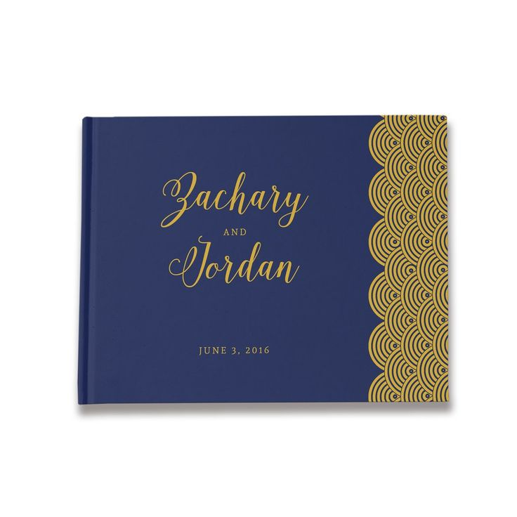 Art Deco Wedding Guest Book Navy and