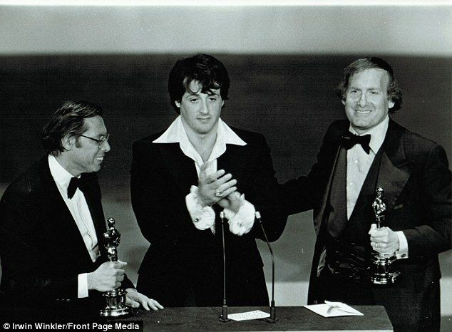 Ultimate success: Irwin Winkler with the Oscar for Best Picture, Sylvester Stallone, who won Best Actor, and Robert Chartoff, the other half of the Chartoff-Winkler production house which made the movie. He died this year