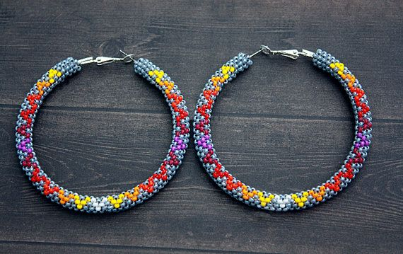 Eleumne Gray Native American Beaded Hoop Earrings By