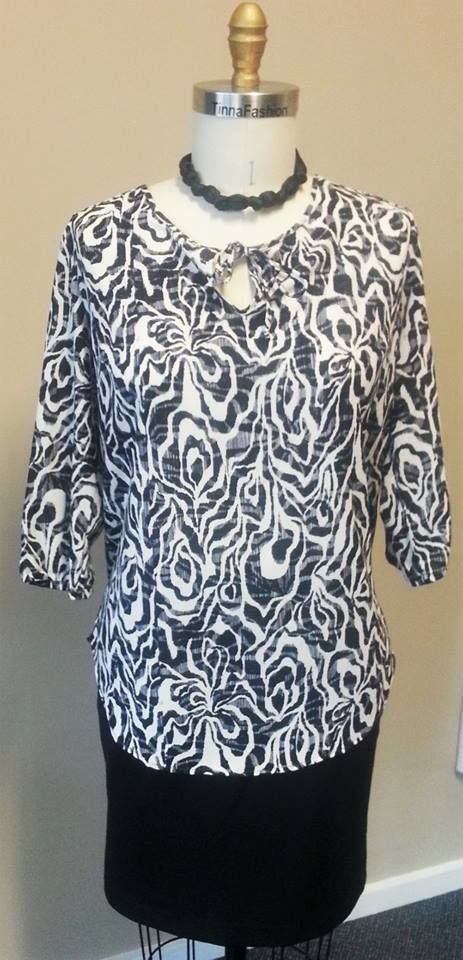 Soft Shirt with tie front in Animal Swirl fabric and a Short Skirt in Black Ponti fabric
