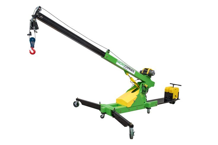 Roof top mini crane hoist. Portable construction lifting.