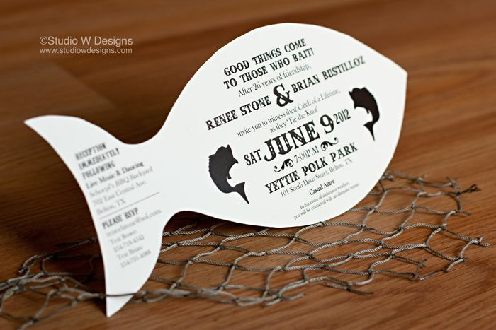 82 best images about fishing perfect catch weddings for Fishing wedding invitations