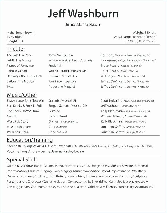 Fresh Musical Theater Resume Template Word For Actors Beginners Acting Resume Template Acting Resume Resume Template