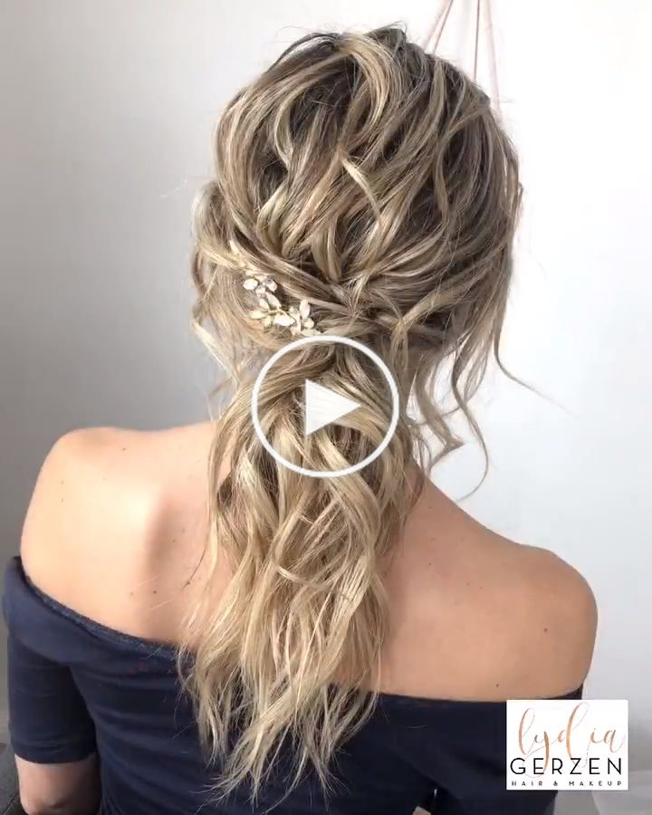 Tutorial Bridal Boho Ponytail: Step by step I am leading you through creating this hairstyle. If you wish, you can mitstylen parallel on the doll's head or model. It was cut away anything in this video tutorial! #lydiagerzen #bohohair #videotutorial #guide #bohoponytail #brautfrisur #ponytail #fancyhairstyles