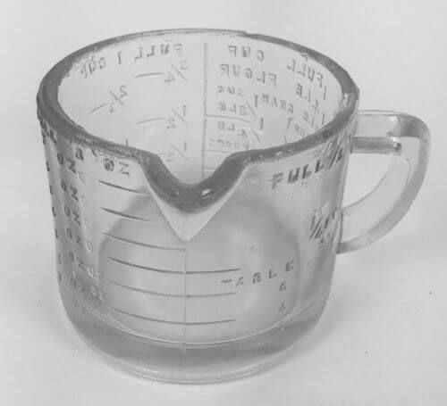 Vintage Short Glass Measuring Cup w Flour Sugar & Tea Markings - Vintage kichenware at shopvintagegrace.com