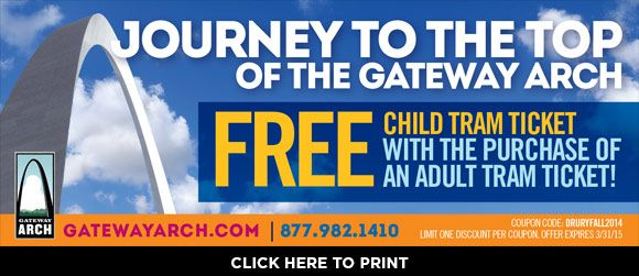 Take advantage of a free child tram ticket with the purchase of an adult tram ticket at the Gateway Arch, and enjoy your St. Louis vacation at any of the 21 Drury Hotels in the area!